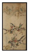 Asian Watercolor of a Warrior Scene