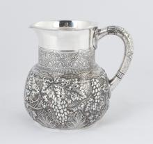 Tiffany & Co. Makers Sterling Silver Repousse Water Pitcher with Moorish Design