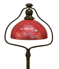 Rare Steuben Red Shade with Iridescent Leaf and Vine Decoration on a Handel Harp Base