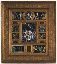 French Limoges Enamel and Gilt Wood Framed Plaques