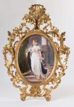Painted Porcelain Plaque in a Carved Giltwood  Frame