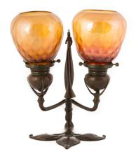Tiffany Studios Double Bronze Candle Lamp with  Snuffer and Quilted Iridescent Shades