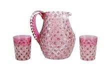 Brilliant Period Red Overlay Cut Glass Water Pitcher and Two Tumblers