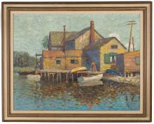 George Linton Herdle (American, 1868-1922) Canal Scene