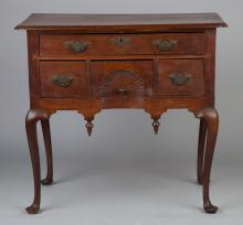 Massachusetts Queen Anne Walnut Lowboy with Inlaid  Fan
