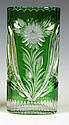 Green Overlay Cut Glass Vase