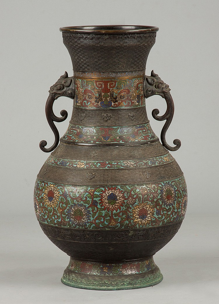 Chinese bronze cloisonne vase for Asian antiques uk