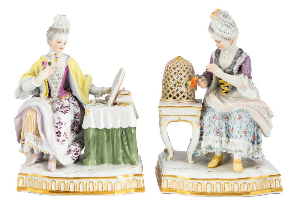 Two Meissen Figurines of Seated Ladies