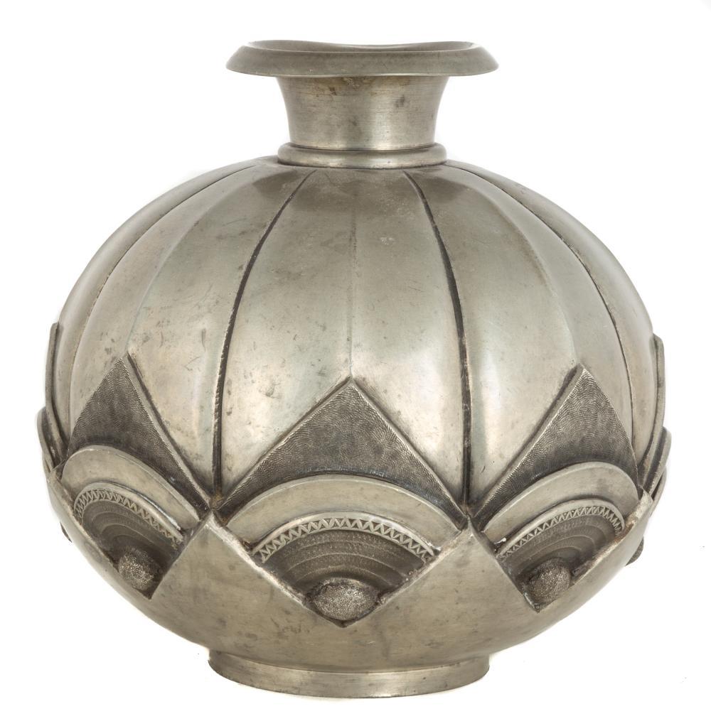 Art Deco Hammered Metal Vase