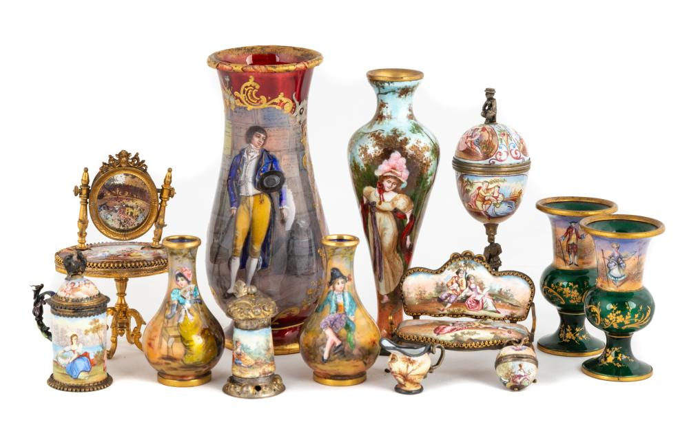 Group of Venetian Enameled and Silver Cabinet Pieces