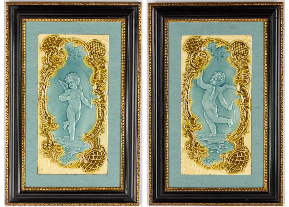 Pair of Minton Style Tiles