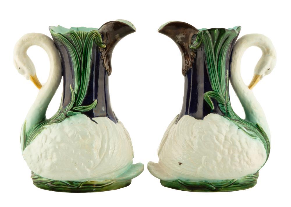 Pair of English, Majolica Cobalt Swan Ewers