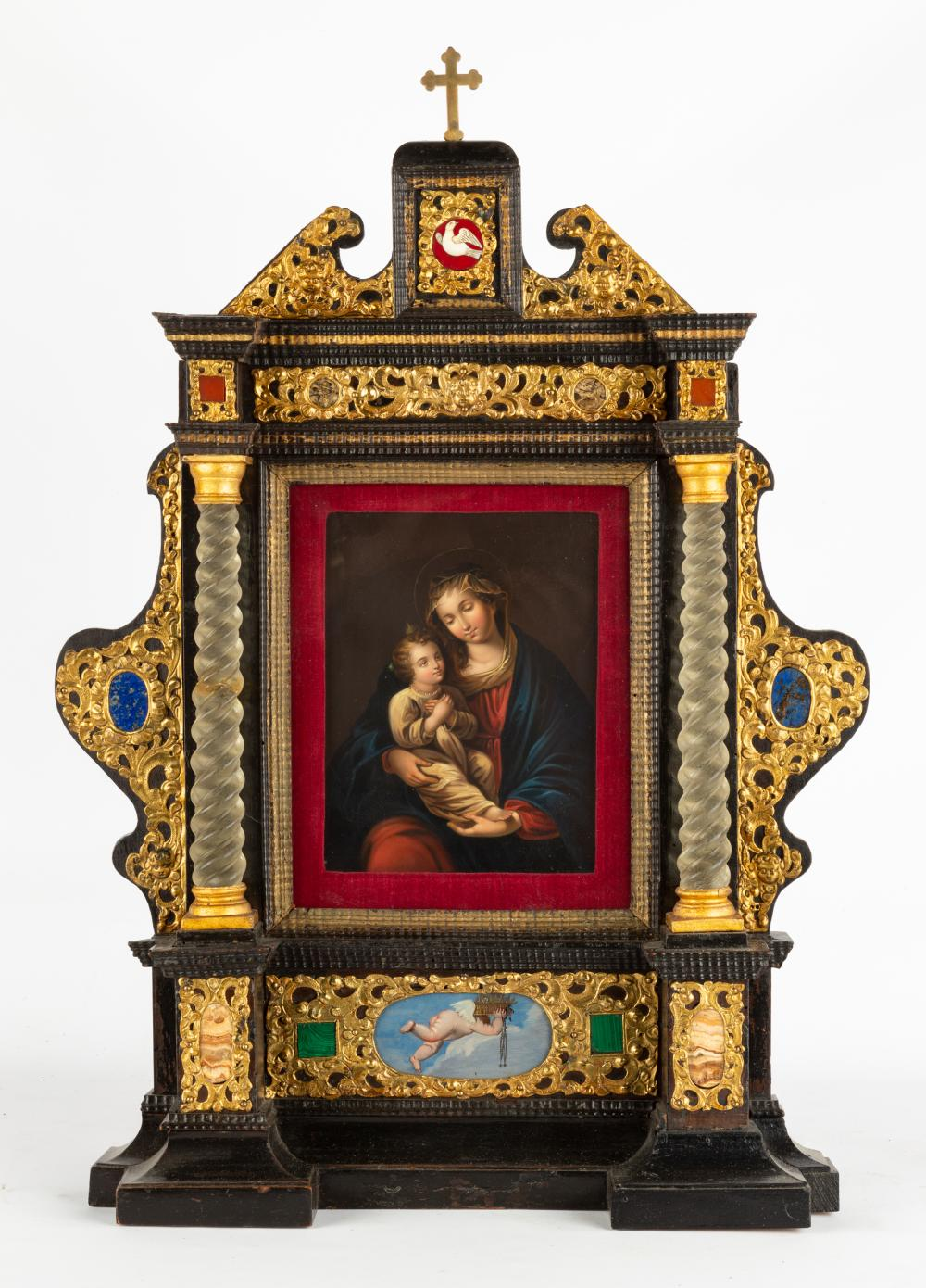 Madonna and Child Hand Painted Shrine