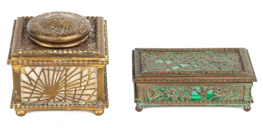 Tiffany Studios, New York Pine Needle Inkwell and Grapevine Stamp Box