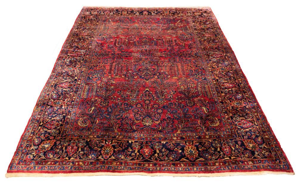 Painted Sarouk Oriental Rug