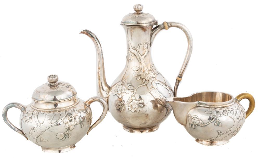 Three Piece Samurai Srokal Sterling Silver Tea Set