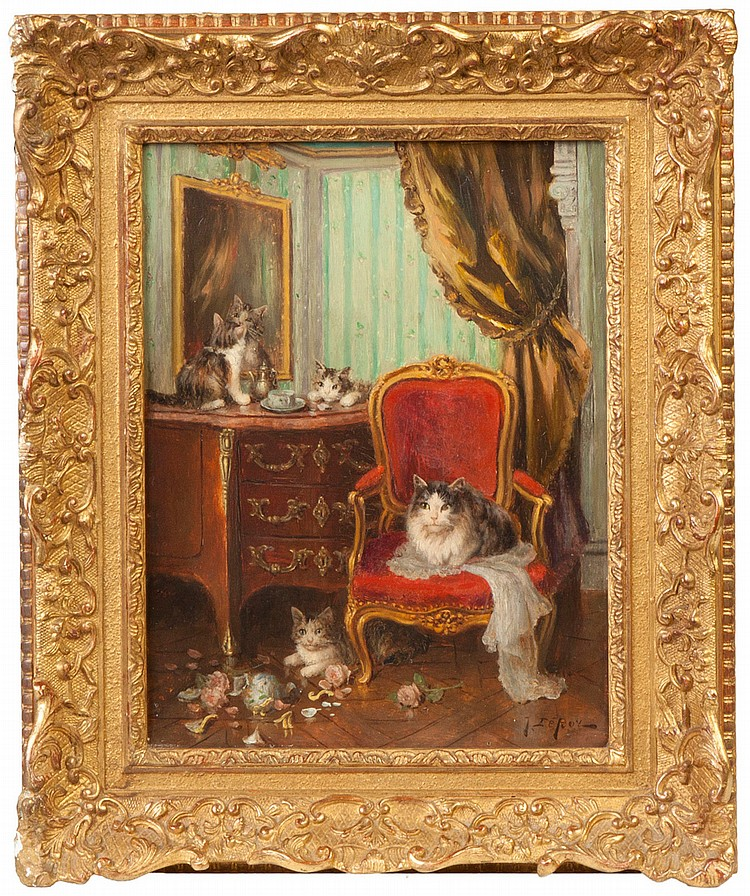 Jules Gustave Leroy  (French, 1856-1921) Kittens in parlor