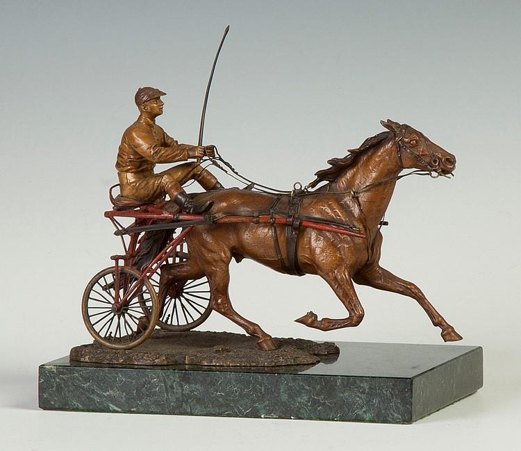 Franz Bergmann  (Austria, 1838-1894) Bronze Cold Patinaed Sulkie Rider & Horse