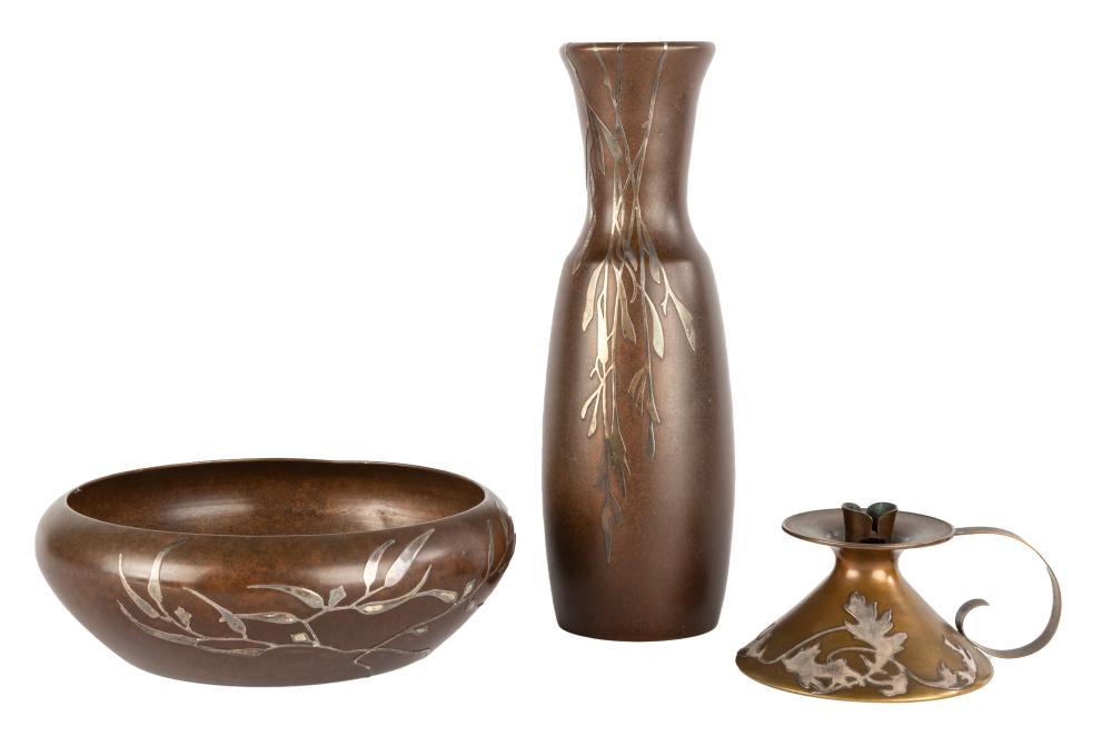 Heintz Art Vase, Bowl and Chamber Stick