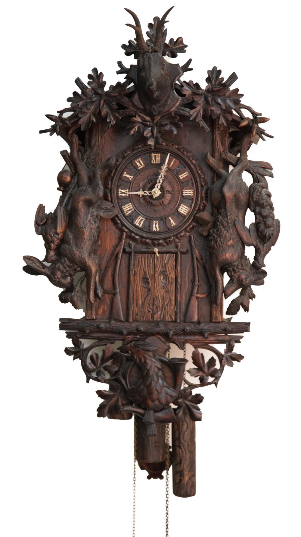Rare Emilian Wehrle 7 Horn Trumpeter Wall Clock