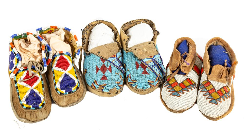 (3) Pair of Native American Beaded Moccasins