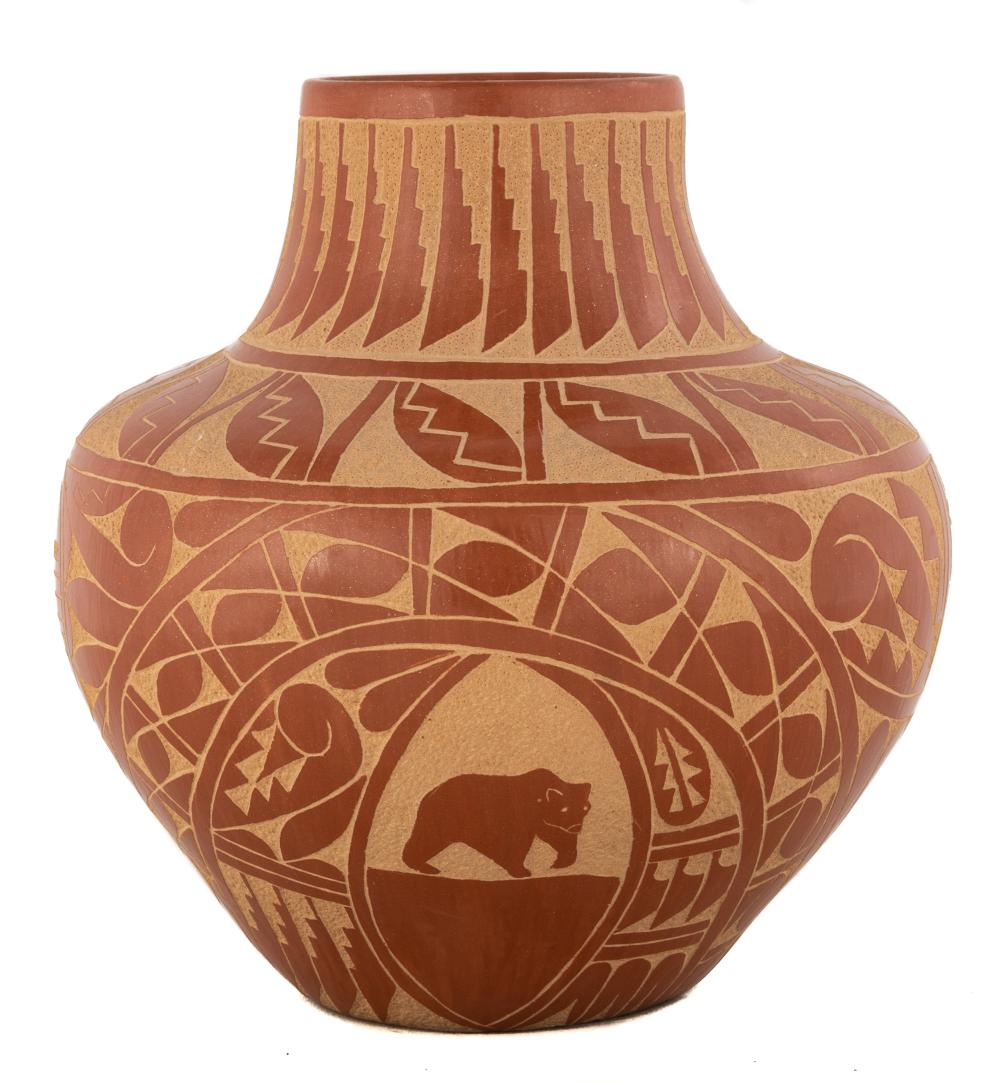 Incised Clay Pot with Animal Figures