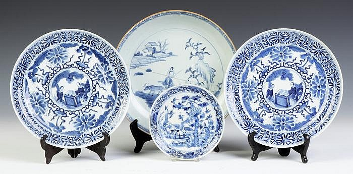 Four Chinese Blue & White Porcelain Plates