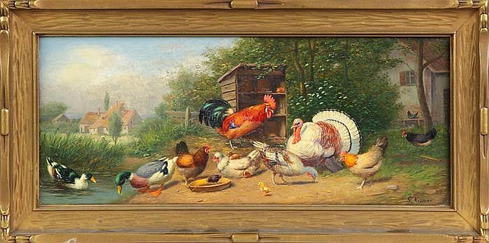 Gustav Mesmer (German, 1865-?) Barnyard animal scene