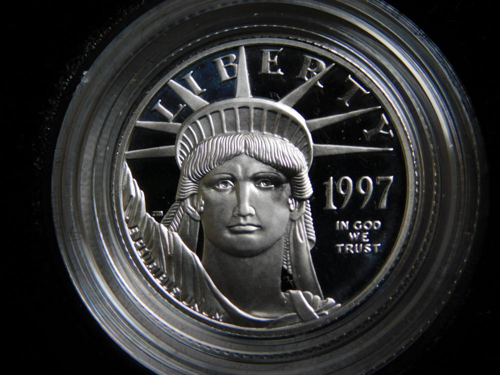 1997-W 1/4 OZ. PROOF INAUGURAL ISSUE $25.00 PLATINUM EAGLE COIN