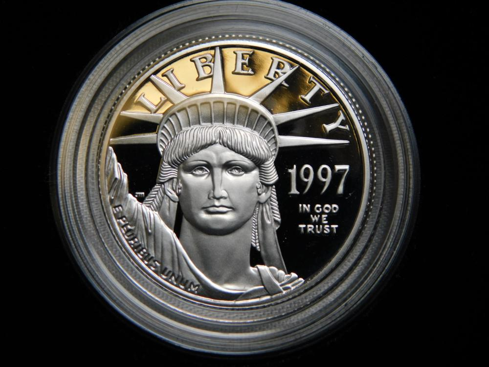1997-W 1/2 OZ. PROOF INAUGURAL ISSUE $50.00 PROOF PLATINUM EAGLE COIN