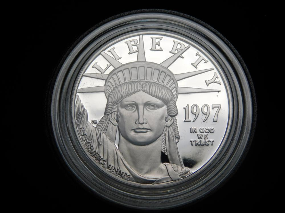 1997-W 1 OZ. PROOF INAUGURAL ISSUE $100.00 PLATINUM EAGLE COIN