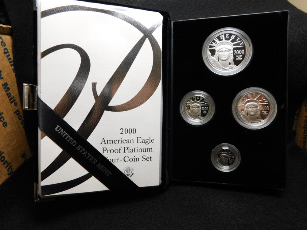 2000-W PROOF 4 COIN PLATINUM EAGLE SET 1/10, 1/4, 1/2 & 1 OZ. COINS