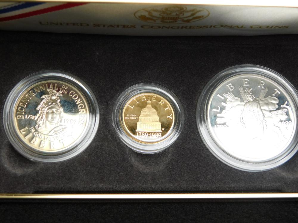 1989 3 COIN PROOF CONGRESSIONAL SET WITH $5.00 GOLD