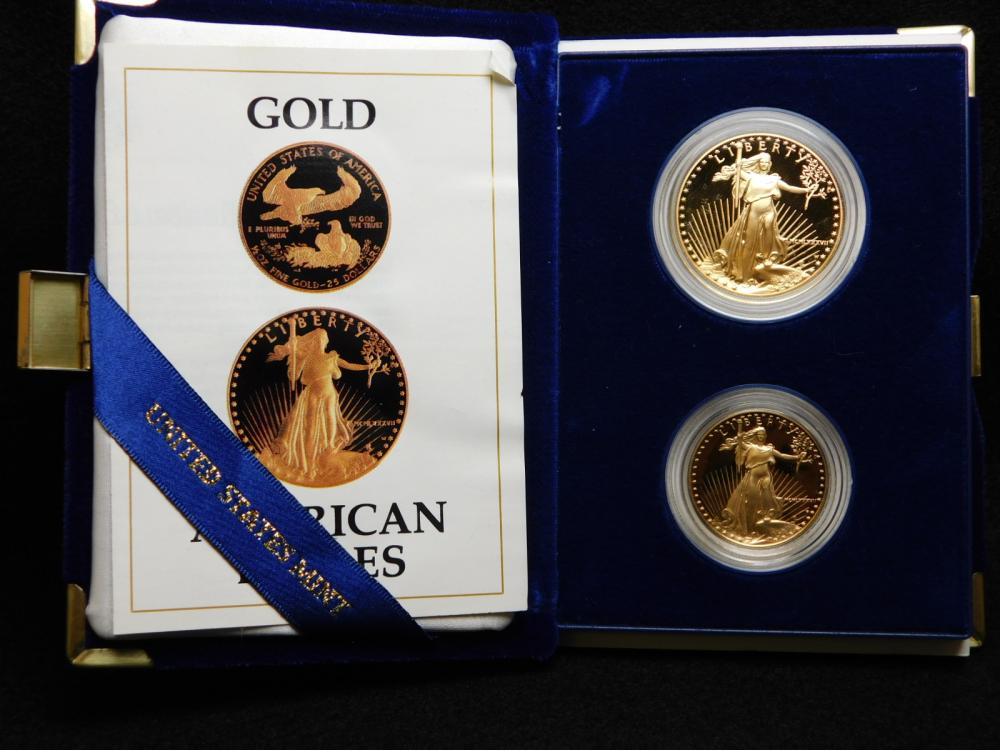 1987 2 - COIN GOLD PROOF SET WITH 1/2 & 1 OZ. GOLD EAGLES