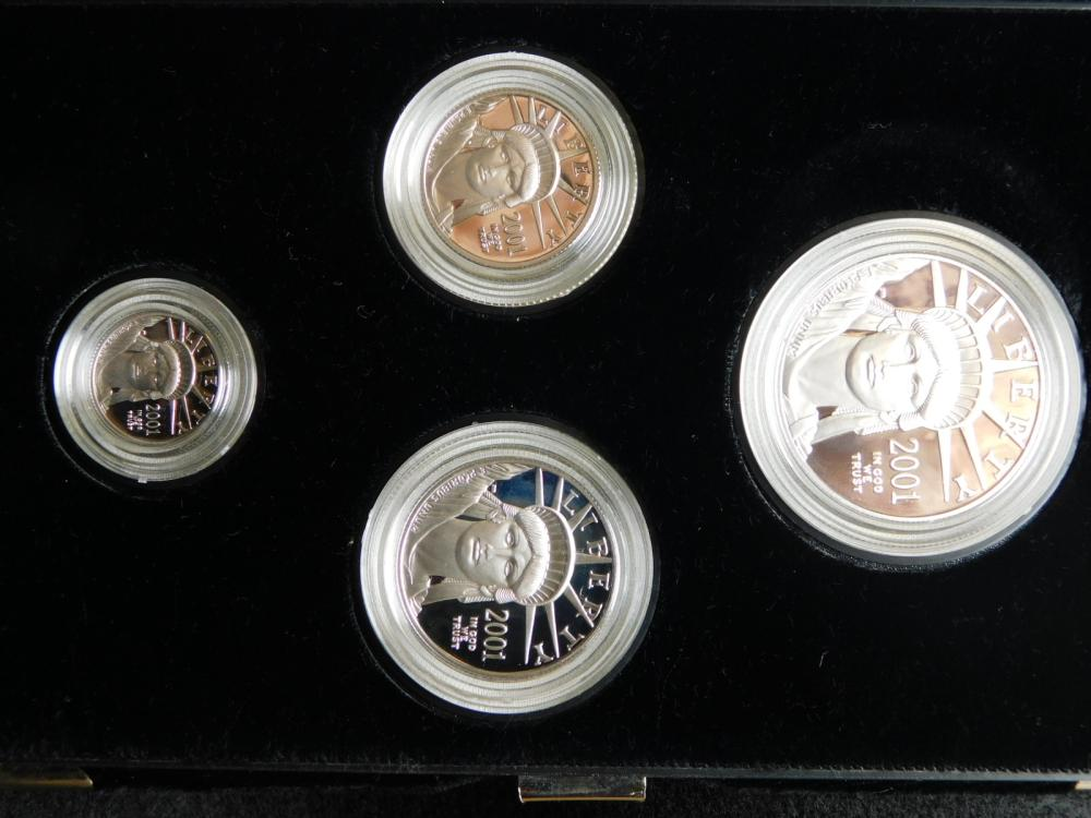 2001-W PROOF 4 COIN PLATINUM EAGLE SET 1/10, 1/4, 1/2 & 1 OZ. COINS