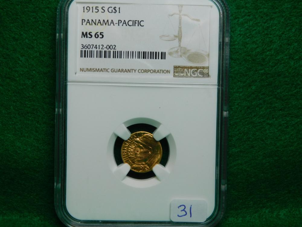 1915-S $1.00 PANAMA PACIFIC GOLD PIECE NGC MS65 WOW!!