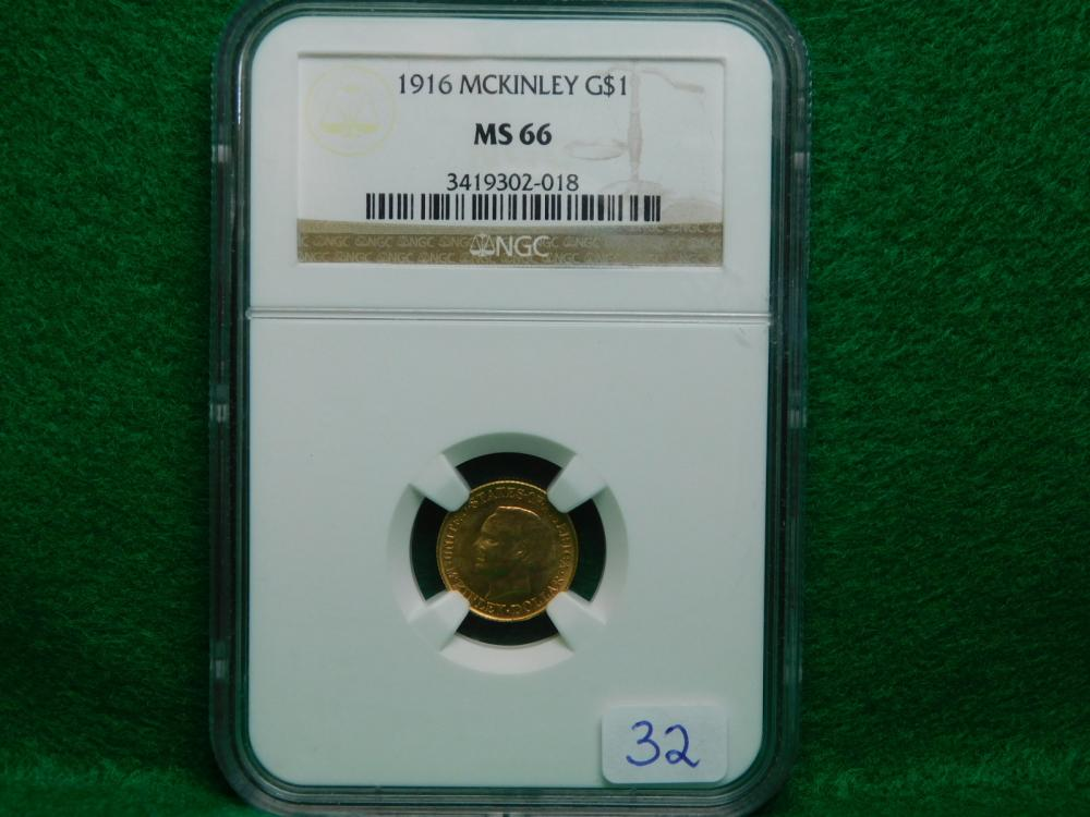 1916 $1.00 MCKINLEY GOLD PIECE NGC MS66 WOW!!!!
