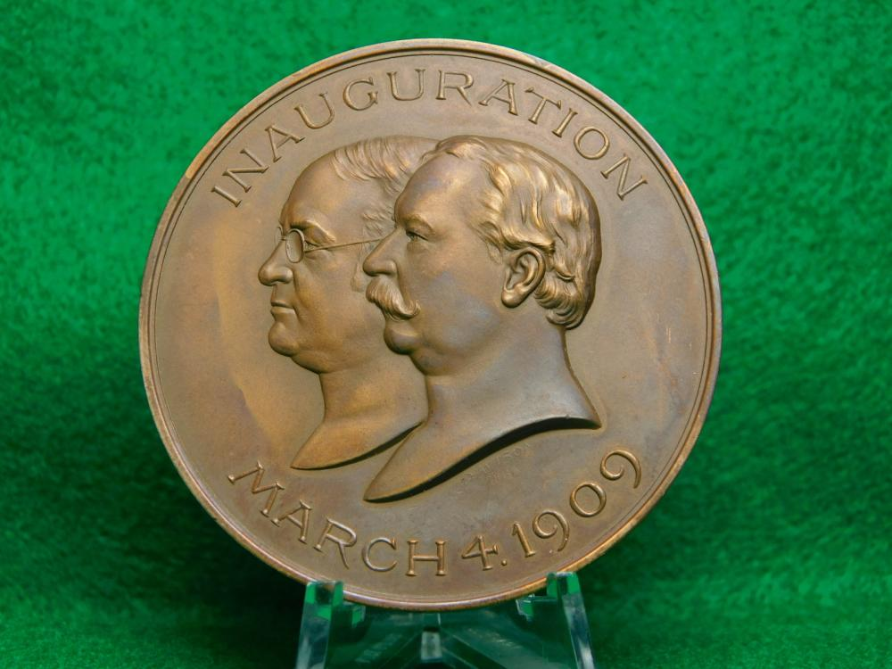 1909 WILLIAM H TAFT & JAMES S SHERMAN INAUGURATION MEDAL UNC