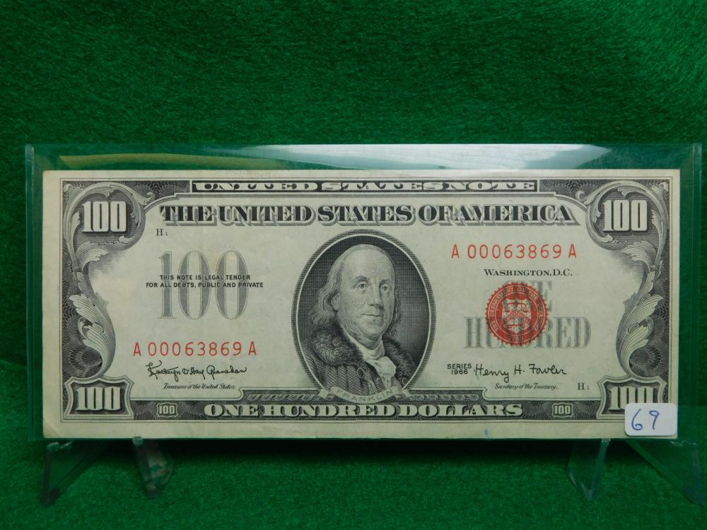 SERIES 1966 $100.00 RED SEAL UNITED STATES NOTE EF