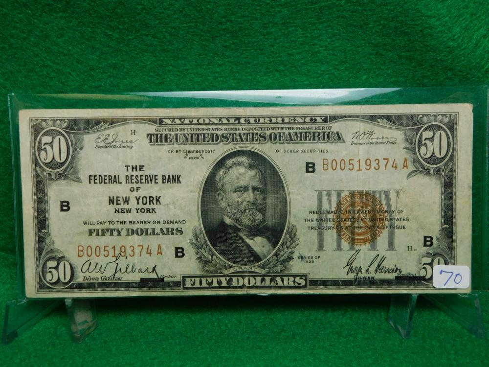 SERIES 1929 $50.00 NATIONAL CURRENCY THE FEDERAL RESERVE BANK OF NEW YORK VG