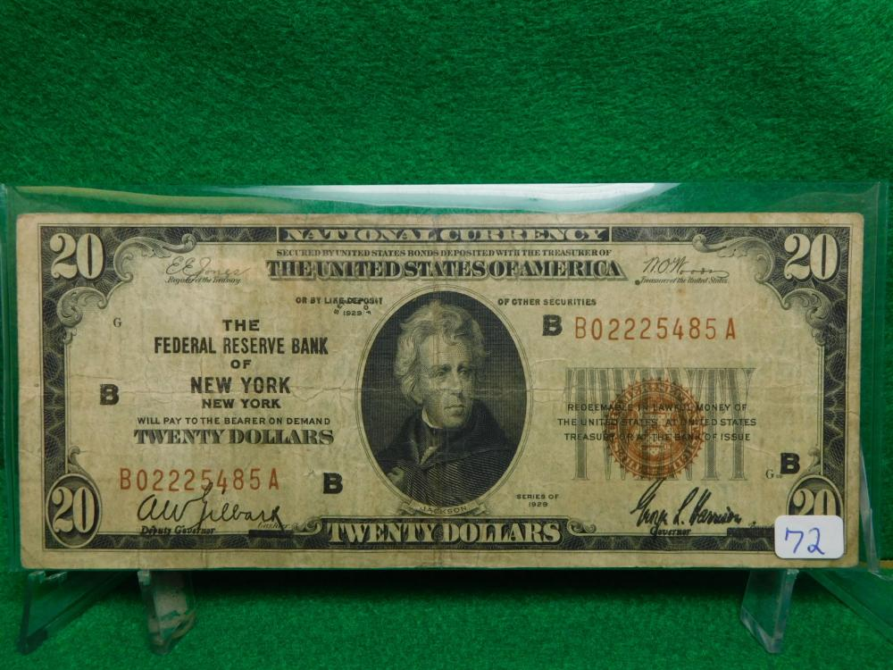 SERIES 1929 $20.00 NATIONAL CURRENCY THE FEDERAL RESERVE BANK OF NEW YORK VG