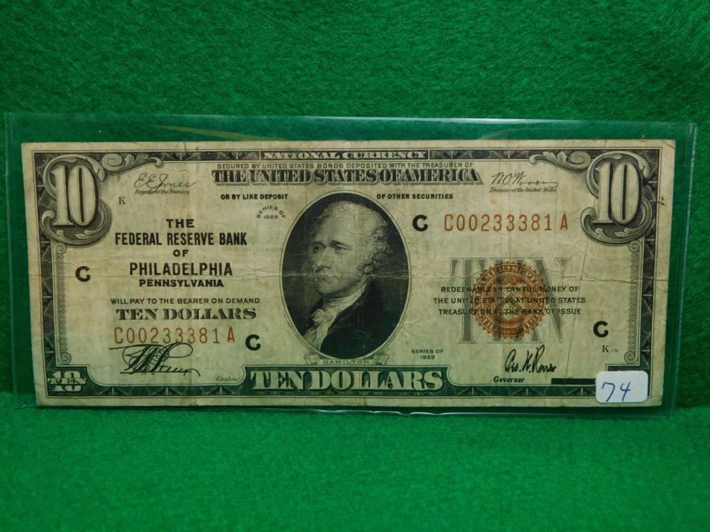 SERIES 1929 $10.00 NATIONAL CURRENCY THE FEDERAL RESERVE BANK OF PHILADELPHIA VG