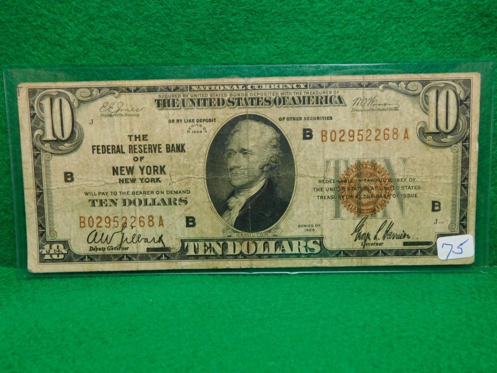 SERIES 1929 $10.00 NATIONAL CURRENCY THE FEDERAL RESERVE BANK OF NEW YORK VG
