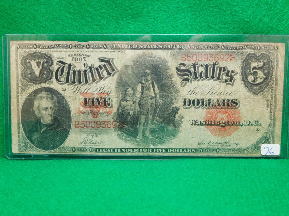 SERIES 1907 $5.00 UNITED STATES NOTE (WOODCHOPPER) VG