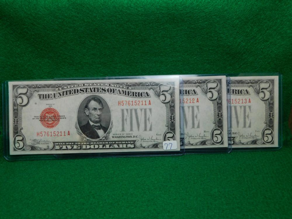 3-SERIES 1928 $5.00 RED SEAL UNITED STATES NOTES CU CONSECUTIVE NUMBERS