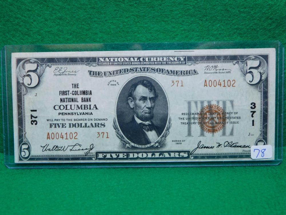 SERIES 1929 $5.00 NATIONAL CURRENCY (THE FIRST-COLUMBIA NATIONAL BANK PA.  AU)