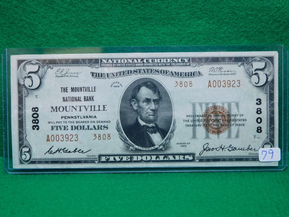 SERIES 1929 $5.00 NATIONAL CURRENCY (THE MOUNTVILLE NATIONAL BANK PA. AU)