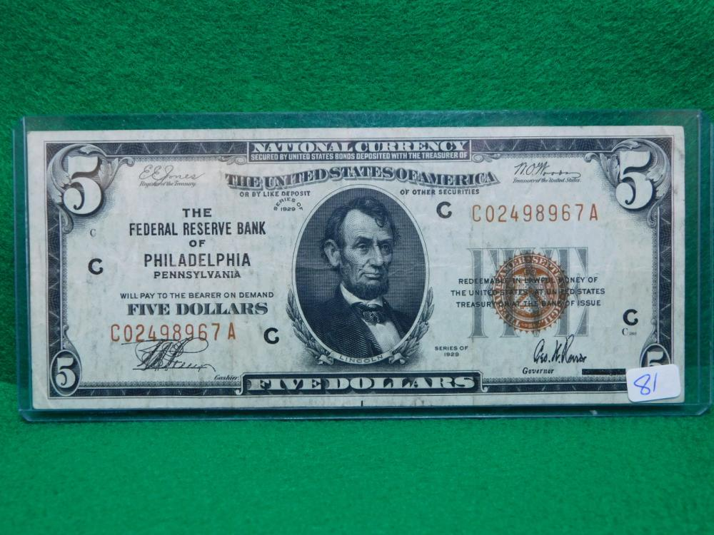 SERIES 1929 $5.00 NATIONAL CURRENCY (THE FEDERAL RESERVE BANK OF PHILADELPHIA VF)