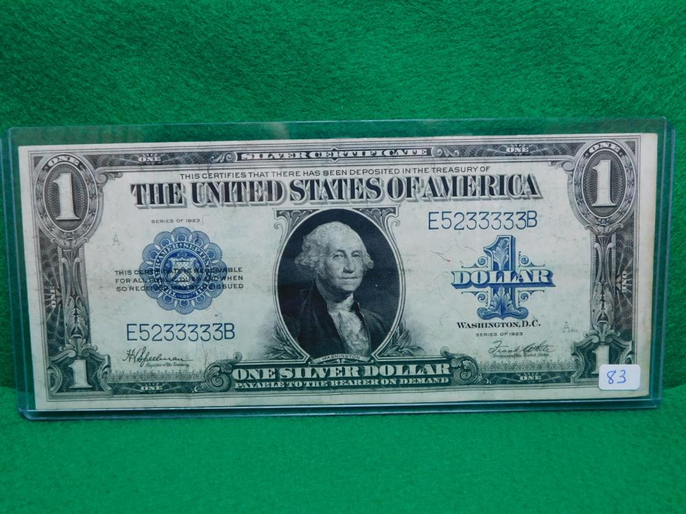 SERIES 1923 $1.00 SILVER CERTIFICATE (LARGE NOTE) VF