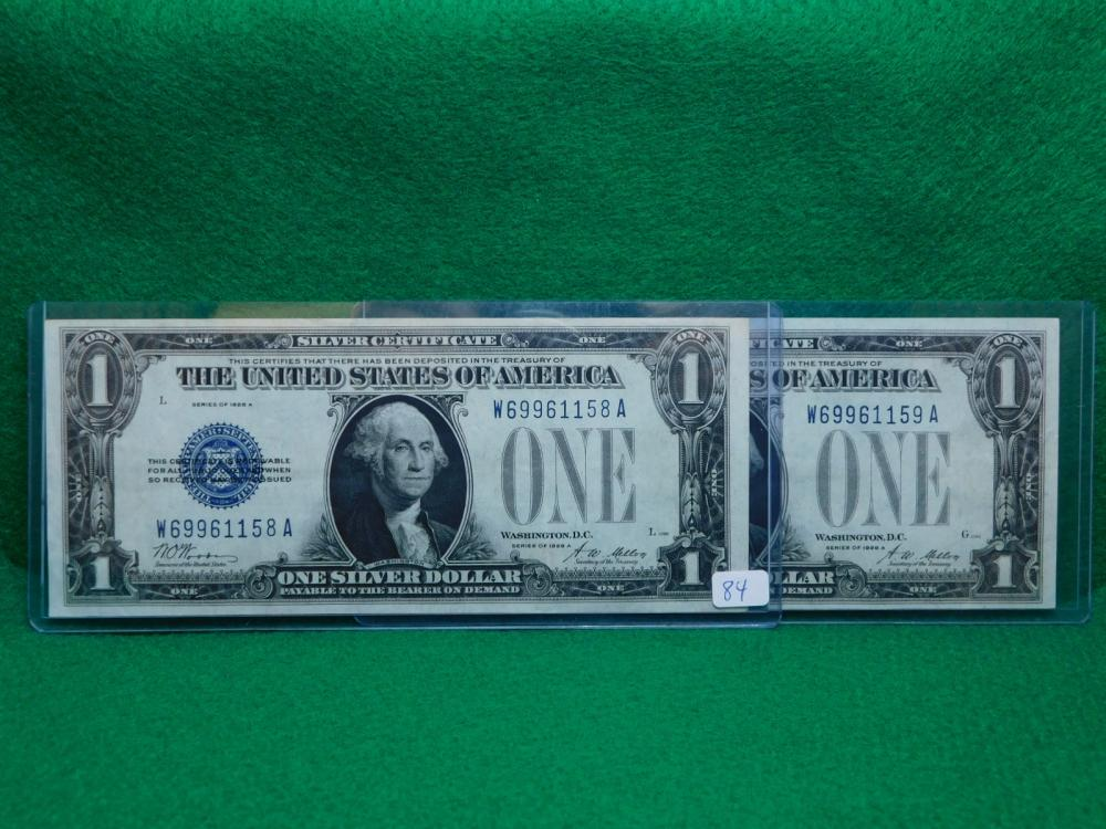 2-SERIES 1928A $1.00 FUNNY BACK SILVER CERTIFICATES CU CONSECUTIVE NUMBERS